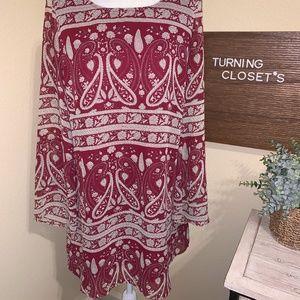 Women's Small Burgundy-Paisley Mini Tunic Dress